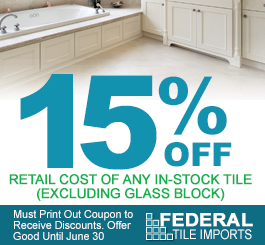 15% Off, Retail Cost of Any In-Stock Tile (Excluding Glass Block) Must Print Out Coupon to Receive Discounts. Offer Good Until June 30